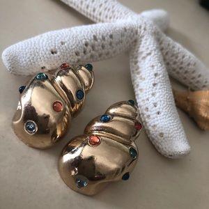 80's Inspired Christmas Conch Shell Gem Earrings